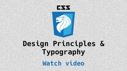 Link to Design Principles and Typography video